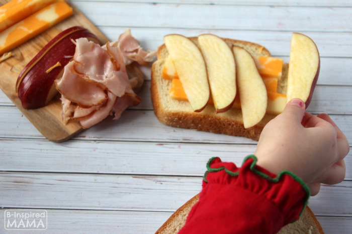 Apple and Ham Grilled Cheese Sandwich - A Fancy Grilled Cheese for Kids - Adding Apple Slices - at B-Inspired Mama