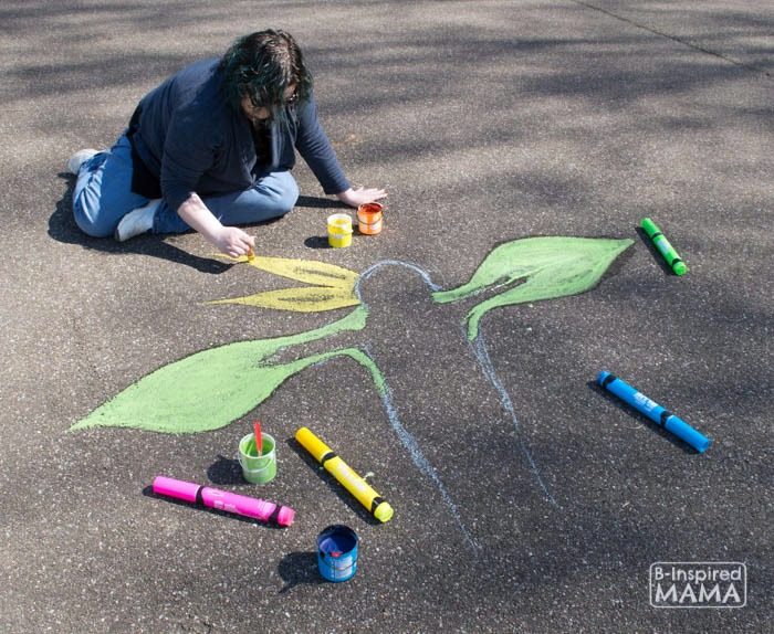 Flower Child Sidewalk Chalk Art - Painting the Flower - at B-Inspired Mama