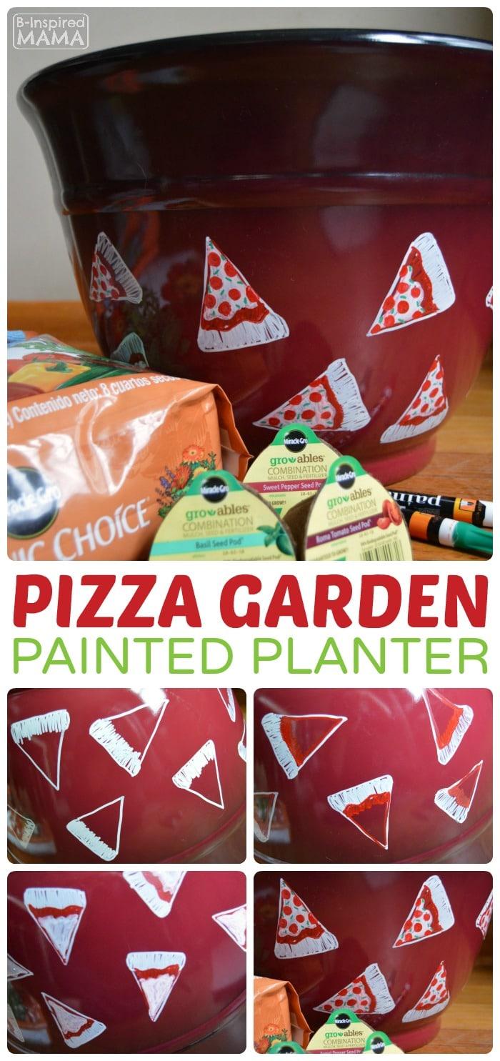 Planting a Pizza Garden in a DIY Pizza Garden Planter - A Fun Garden Craft - at B-Inspired Mama
