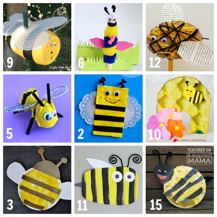 15 Seriously Cute Kids Crafts - Featuring Bees - for a Preschool Unit or Just for Summer Fun - at B-Inspired Mama