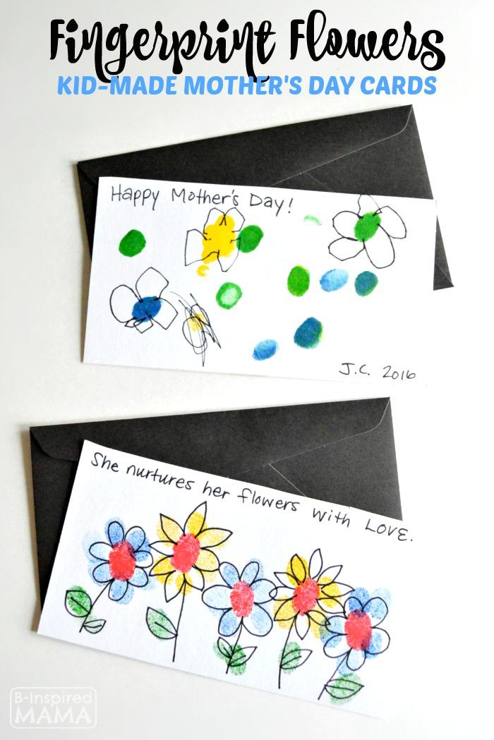 Fingerprint Flowers - Sweet Handmade Mother's Day Cards for Kids - at B-Inspired Mama