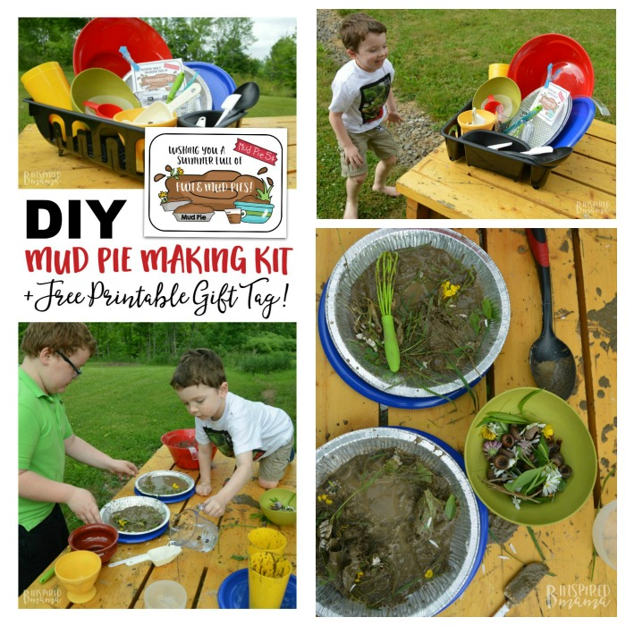 DIY Mud Pie Making Kit + A Free Printable Gift Tag - adding water and flower petals - at B-Inspired Mama