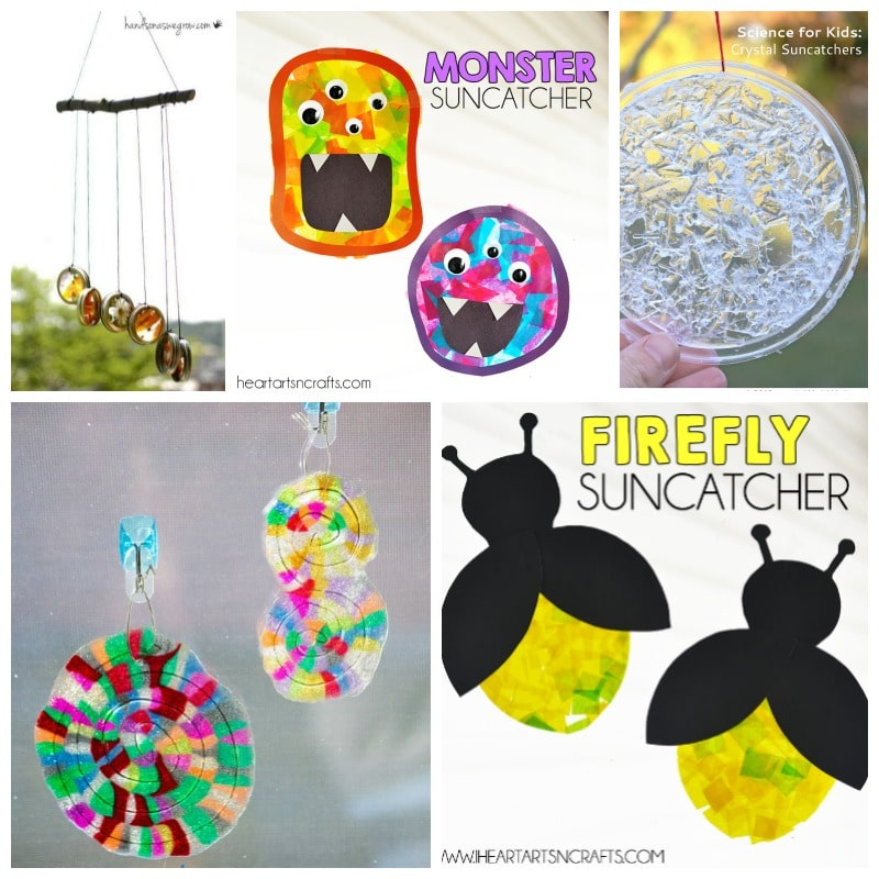21 Suncatcher Craft Ideas for Kids - Create your own sunshine with your kids on a summer rainy day indoors - at B-Inspired Mama