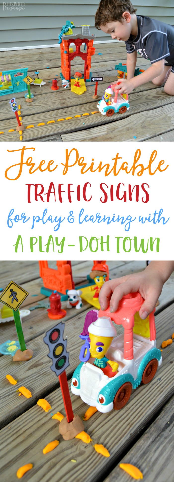 Free Printable Traffic Signs for Play and Learning - with PLAY-DOH Town Playsets - from B-Inspired Mama