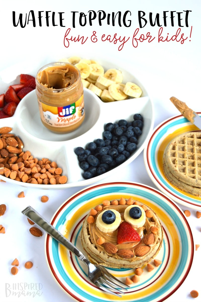 Frozen Waffle Topping Buffet - A Fun and Easy Breakfast for Kids - that's perfect for busy back to school mornings too - from B-Inspired Mama