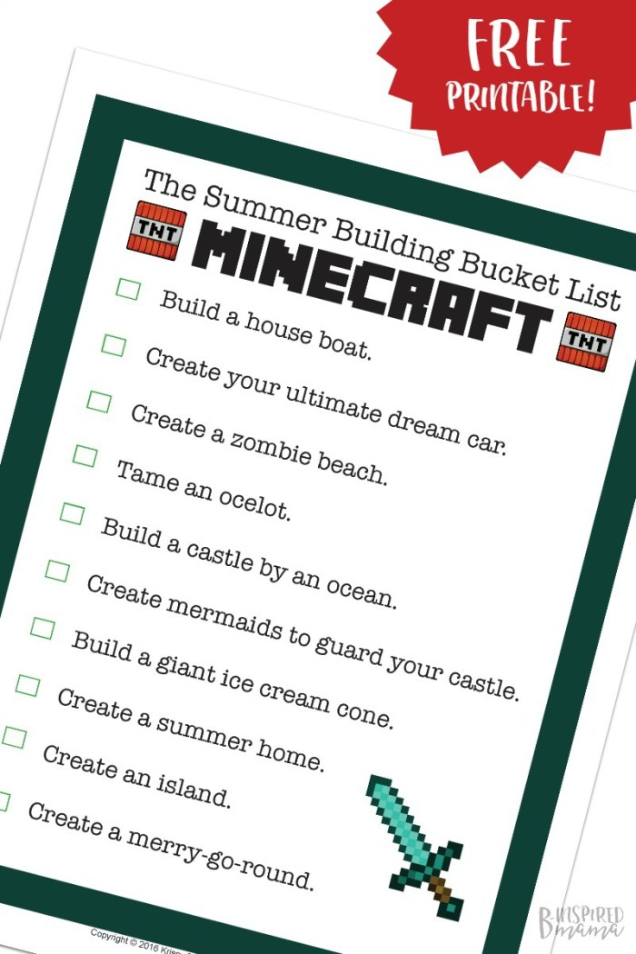 Minecraft Summer Bucket List for Kids - a Free Printable full of Summer-Themed Minecraft Building Ideas - at B-Inspired Mama