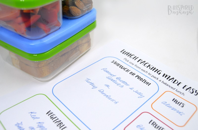 Printables to ensure a Kid-Packed Lunch gets done on time and is a balanced meal, too - at B-Inspired Mama