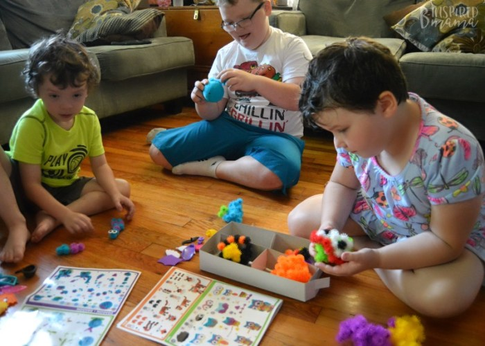 The kids playing + more creative play with their new favorite sensory material - Bunchems - at B-Inspired Mama