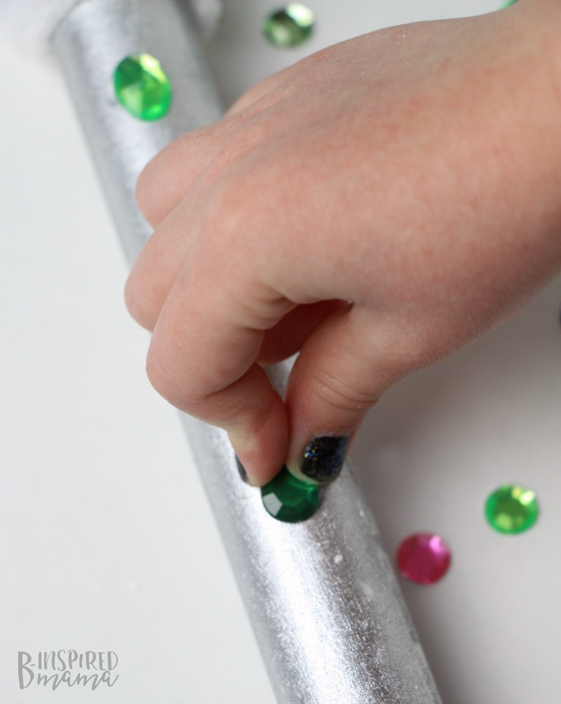 Easy DIY Kids Microphone Toy - Adding rhinestones