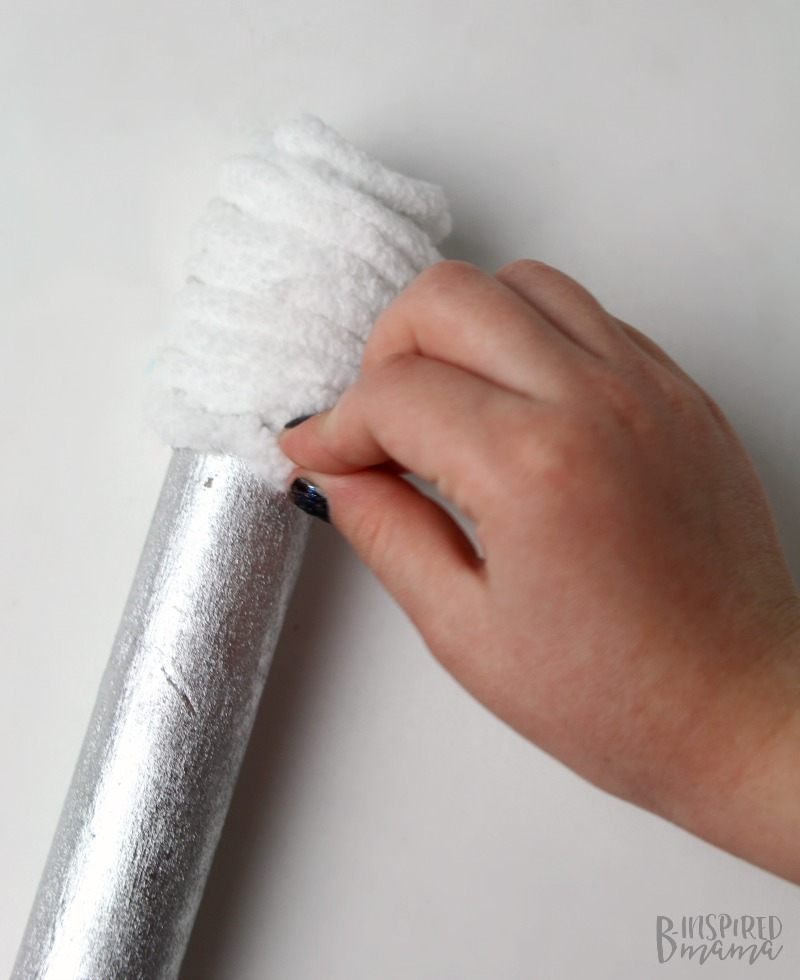 Easy DIY Kids Microphone Toy - Gluing on string