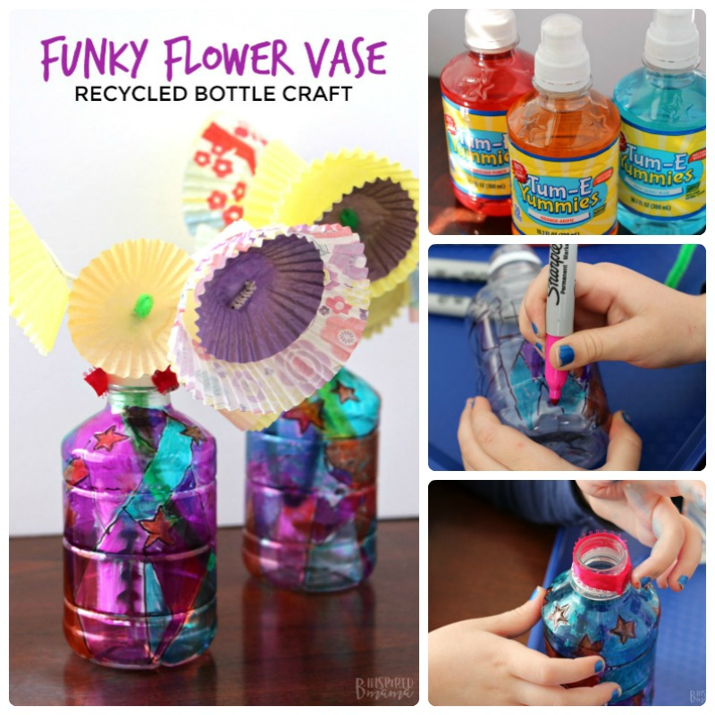 Funky Flower Vase Plastic Bottle Craft for Kids - Perfect for an Earth Day craft or a homemade Mother's Day gift