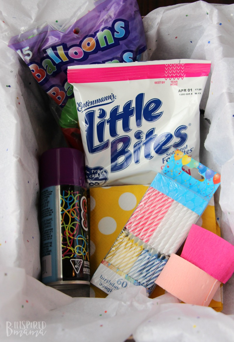 Gather party supplies to a make a Birthday in a Box - for that special child you can't see on her Birthday