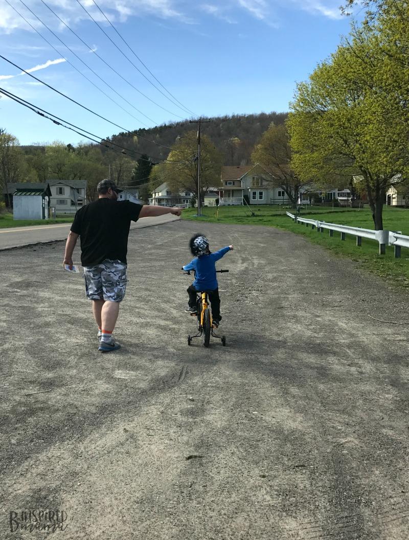 JC and Daddy playing Kids Bike Bingo - Making Learning to Ride a Bike Fun