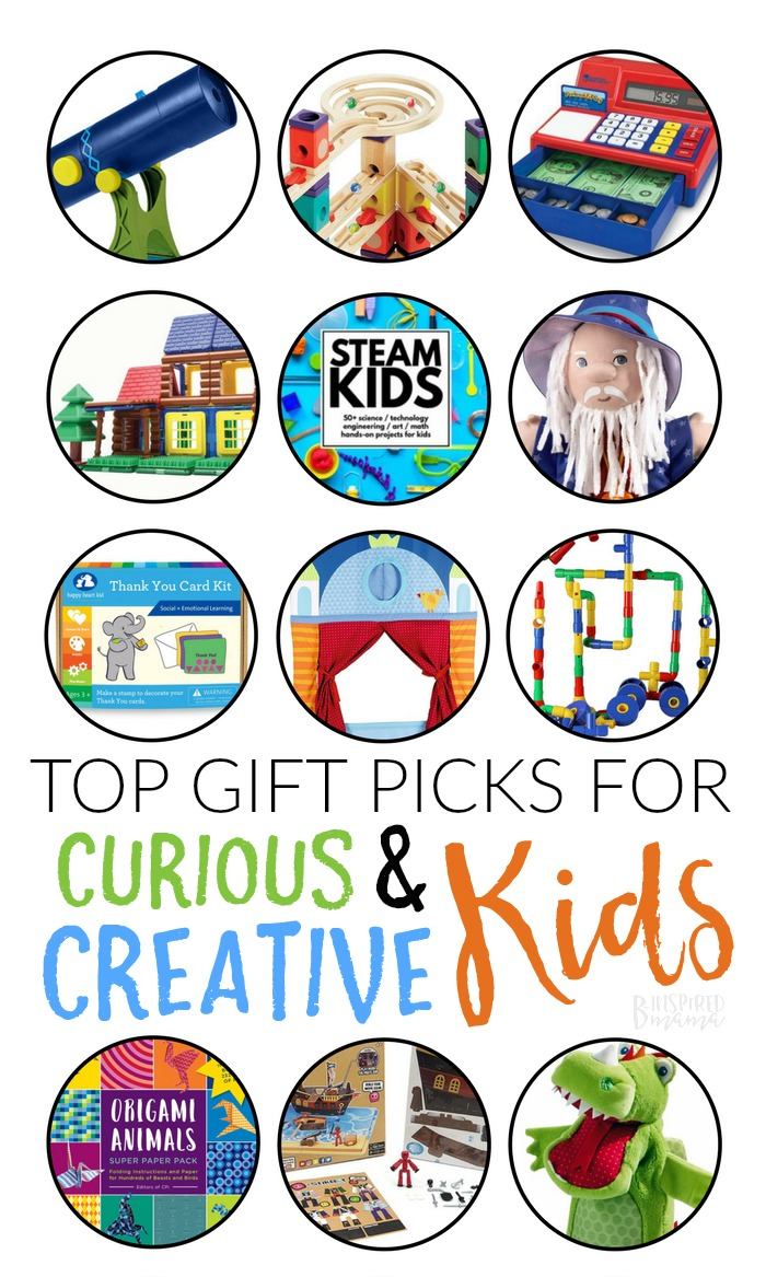 Top Gifts for Encouraging Curious, Creative Kids - Let's choose gifts this Christmas that keep our curious and creative kids this awesomely curious and creative as long as possible!! A B-Inspired Mama Gift Guide #giftguide #christmas #christmasshopping #shopping #kbn #kbnmoms #binspiredmama #holidays #gifts #kidsgifts #kids