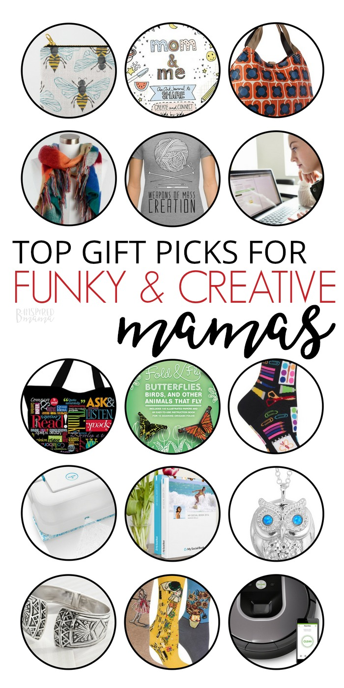 The fun, funky, colorful, and quirky gifts creative moms will LOVE! B-Inspired Mama's got you covered with this awesome Holiday Gift Guide for mom!! So many awesome Gifts for mom and gifts for Grandma on this list!  #holidays #giftguides #christmas #binspiredmama #kbn #kbnmoms