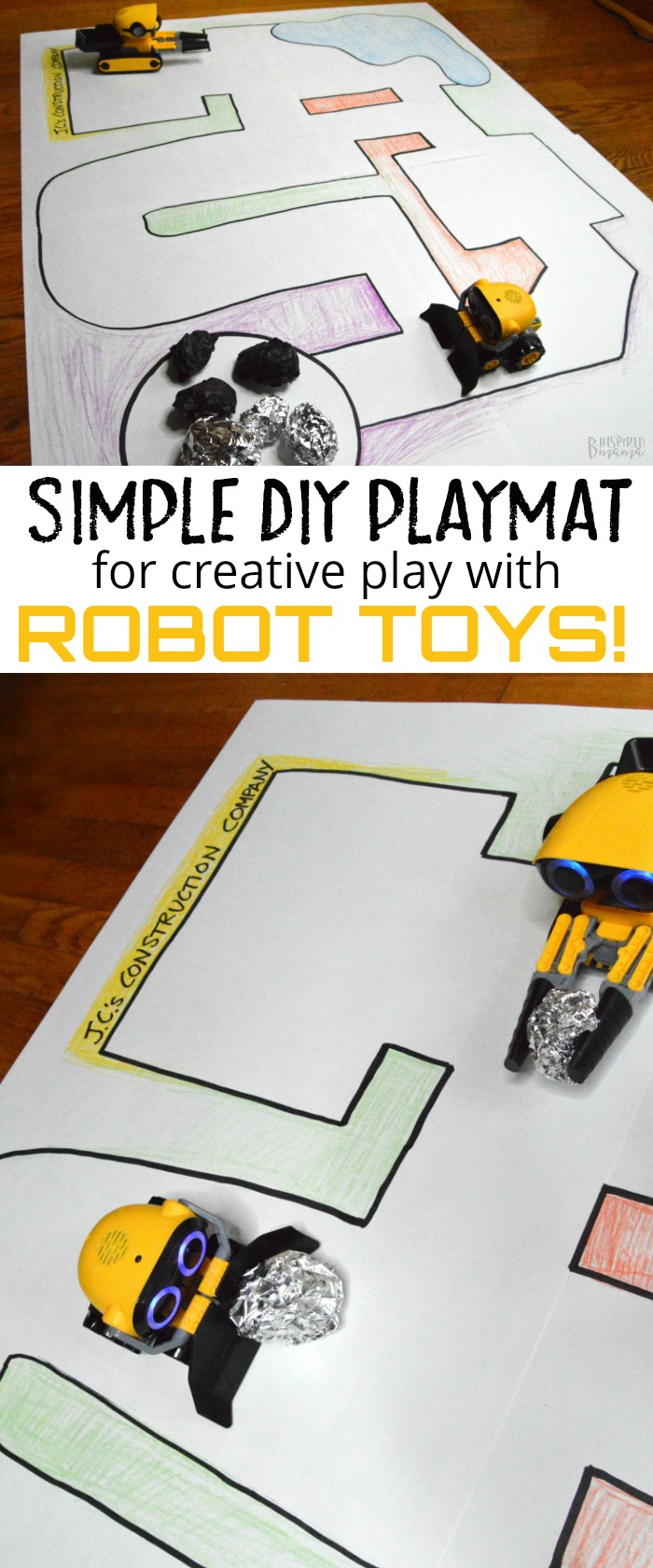 How to Make a Simple DIY Playmat for Kids Robot Toys - at B-Inspired Mama
