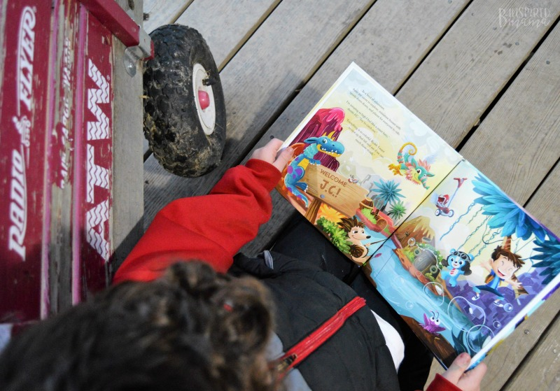 JC reading his personalized My Radio Flyer Adventure book - Perfect for active kids who are reluctant readers!