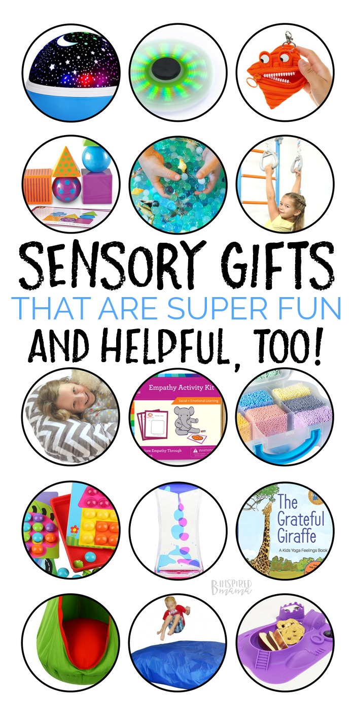 Seriously Fun Sensory Toys and Games - A B-Inspired Mama Gift Guide | Don't miss this Gift Guide full of fun sensory toys and games. These gifts are a WIN-WIN for all! Fun for the child and great for their sensory system too! #sensory #gifts #giftguide #holidays #christmas #shopping #kbn #kbnmoms #spd #asd #autism