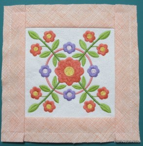 Block stitched in the hoop