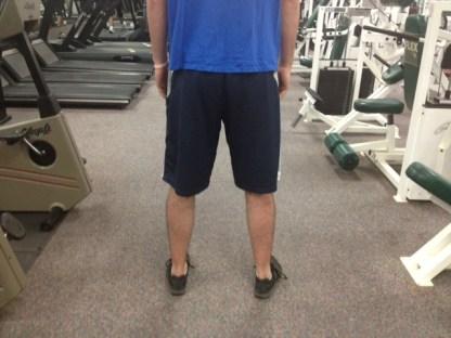 Standing hip externally rotated