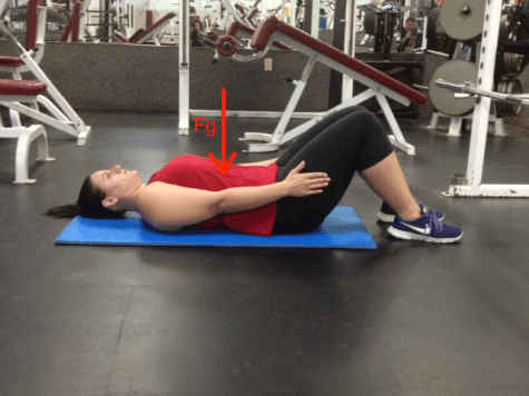 Supine Arm Raise from extension with gravity line COM
