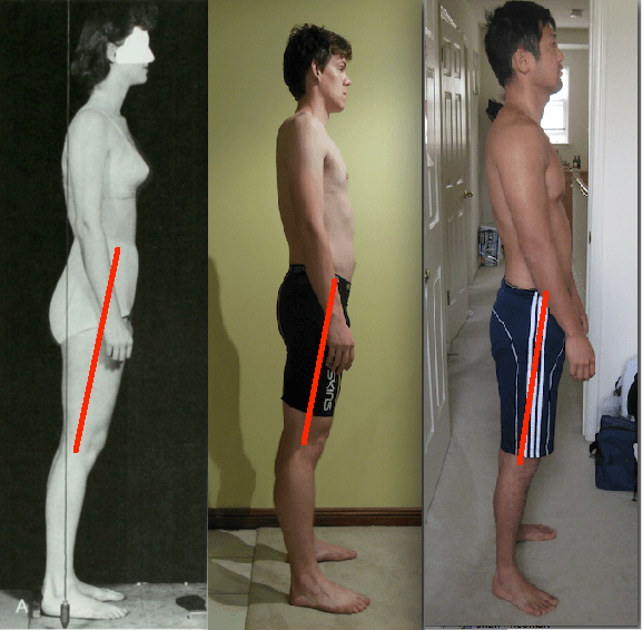 Three types of hip extension side by side with hip extension lines