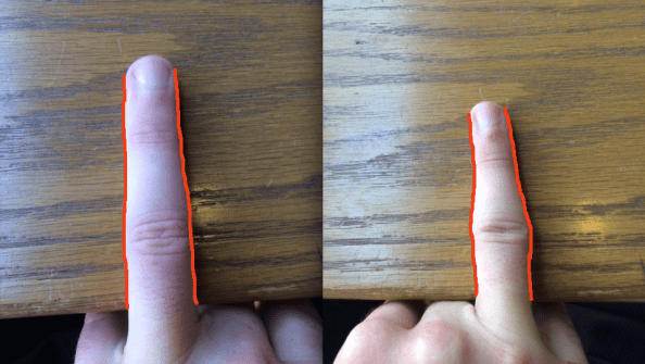 Fingers side by side with outlines