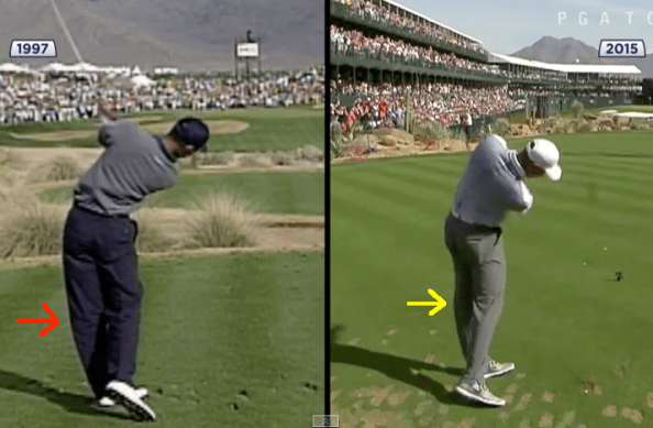 Tiger Woods swing comparison left knee arrow