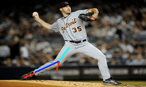 Justin Verlander trail leg with lines