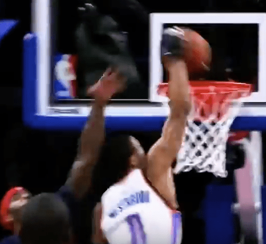 Russell Westbrook great dunk zoomed in 1