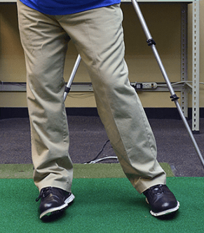 Golf swing ankle view right ankle turning