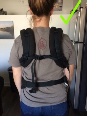 ergo baby carrier high strap adjustment better position for neck with arrow