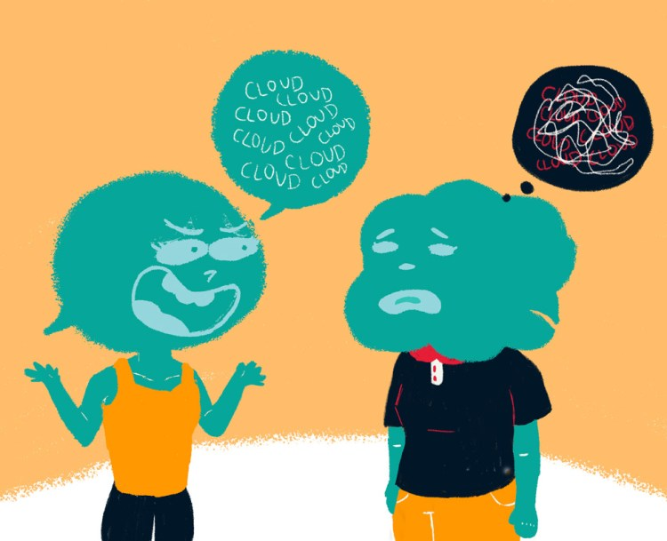 Description: The image uses contrasting colours of teal and orange, drawn in a whimsical manner, with the people having speech bubbles for faces. One person is speaking to a friend with arms lifted up animatedly in conversation. The person on the receiving end seems upset and quiet, with confused thoughts represented by erratic lines of loops and knots in a thought bubble.