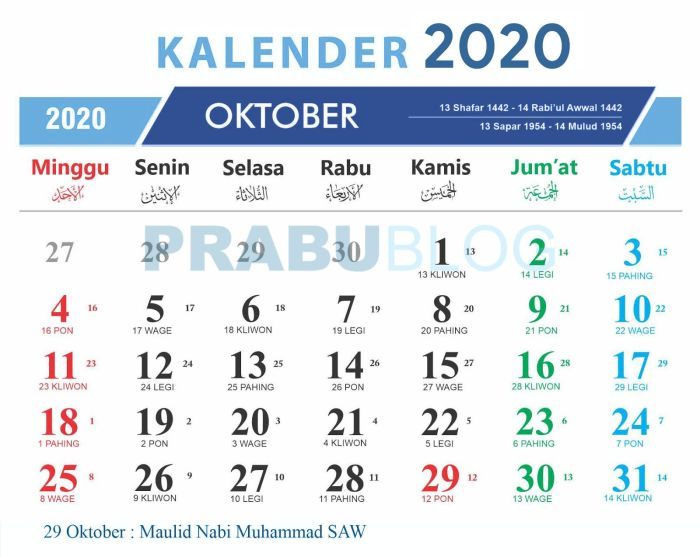kalender bulan oktober 2020 nasional dan jawa