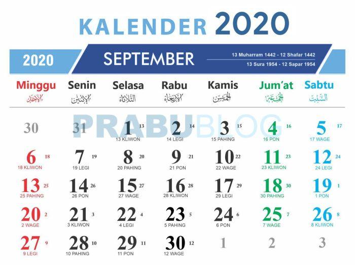 kalender september 2020 nasional dan jawa