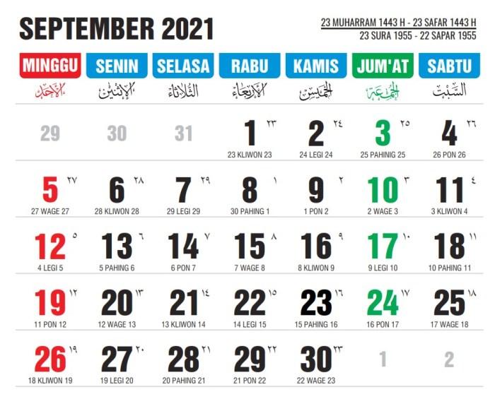 kalender september 2021; kalender islam dan jawa