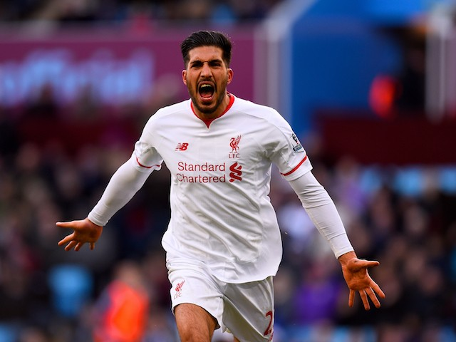 Emre Can celebrates scoring during the Premier League game between Aston Villa and Liverpool on February 14, 2016