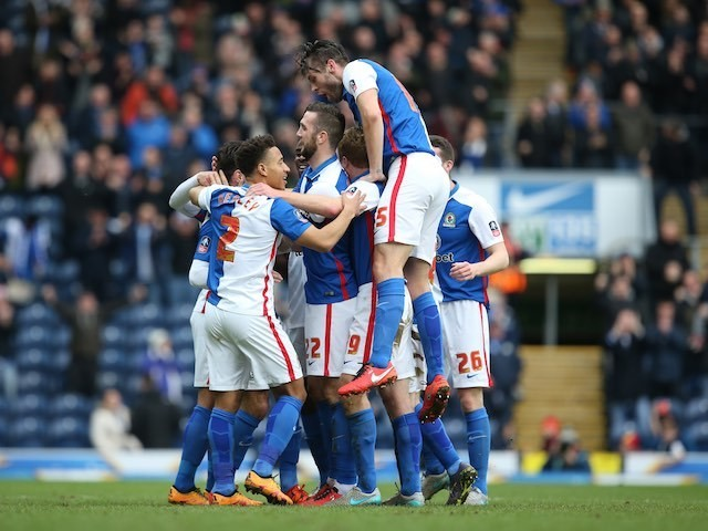 Ben Marshall is congratulated by teammates during the FA Cup game between Blackburn Rovers and West Ham United on February 20, 2016