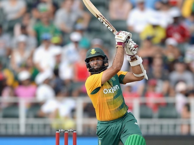Hashim Amla in action with the bat during the second T20 between South Africa and England on February 20, 2016
