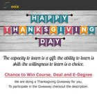 Thanksgiving Giveaway to win exciting courses.