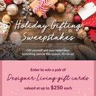 Win $500 ,$250 or $100 in Designer Living gift cards (3 winners) {US} (12/31/2018)