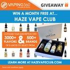 Win 3 x Customized E-Juice Package - Haze Vape Club Giveaway (06/22/2017) {WW}