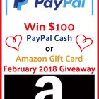 Enter for a chance to win $100 PayPal or $100 Amazon Gift Card. {??} (02/28/2018)