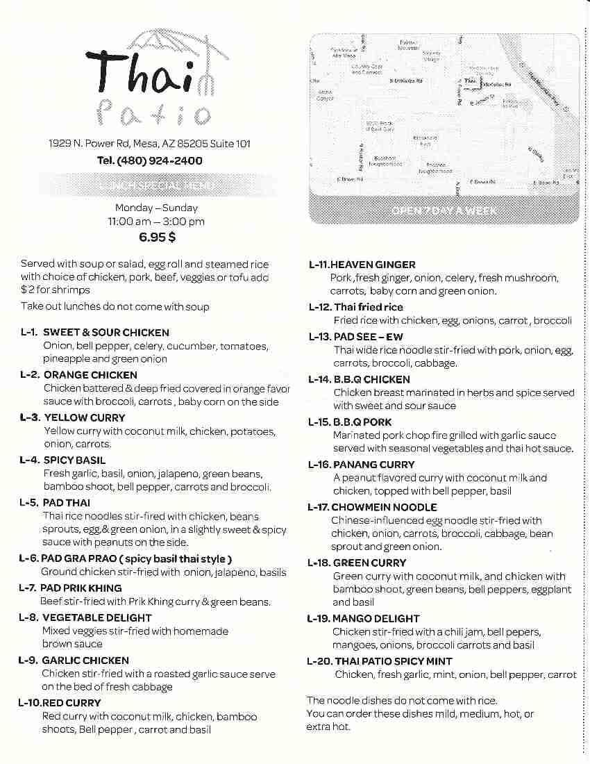 thai patio menu menu for thai patio