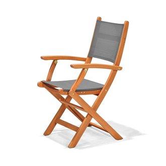 chaise pliante avec accoudoirs en bois et textilene chillvert