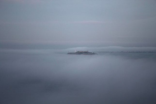 Alcatraz island in the fog