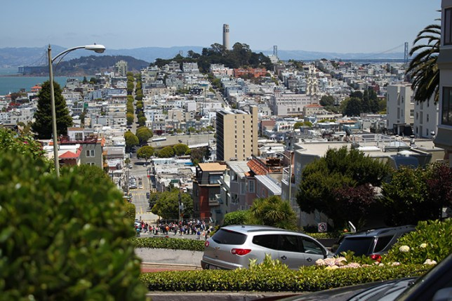 Coit Tower in San Francisco seen from Lombard Street
