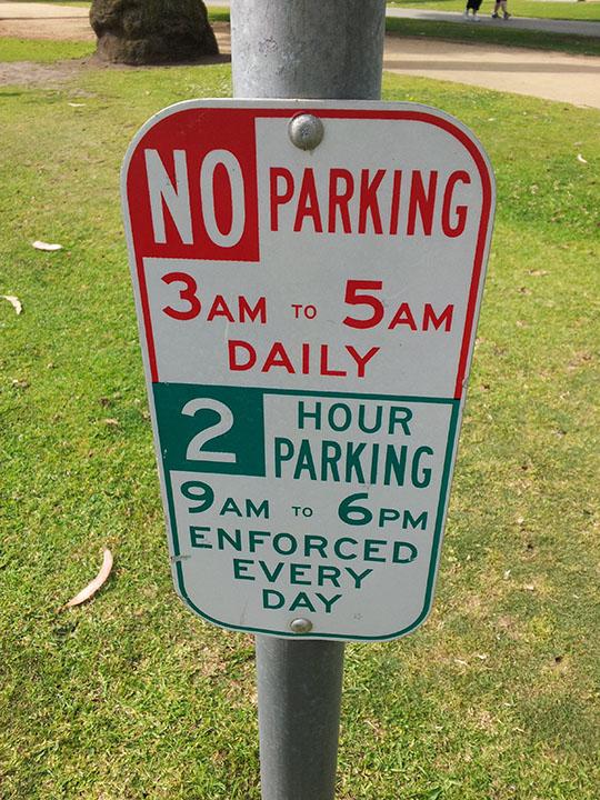 アメリカの駐車表示