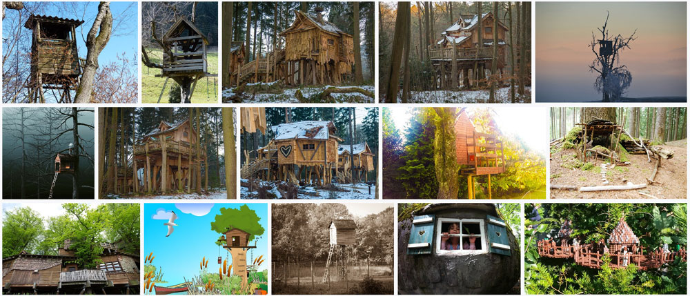 Sample treehouse photos from Pixabay