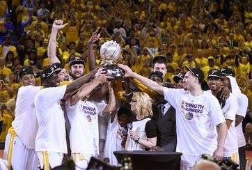 The Golden State Warriors celebrating their NBA championship